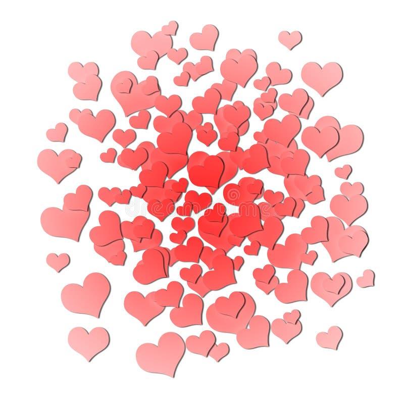 Fond d'illustration de jour de valentines Valentine heureux Texture Logo de lettrage, calligraphie avec beaucoup de coeurs Carte  illustration stock