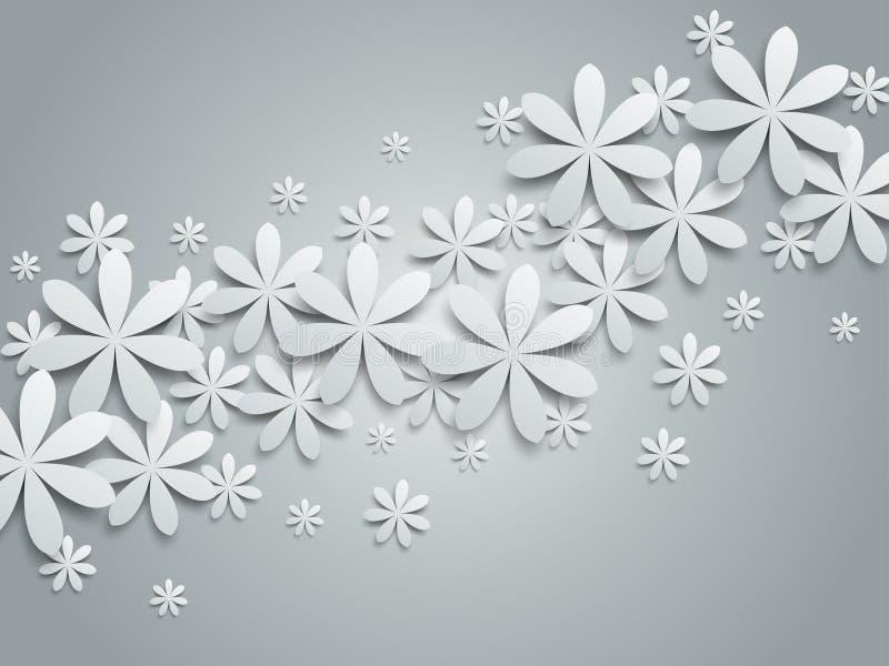 Fond avec les fleurs de papier illustration stock