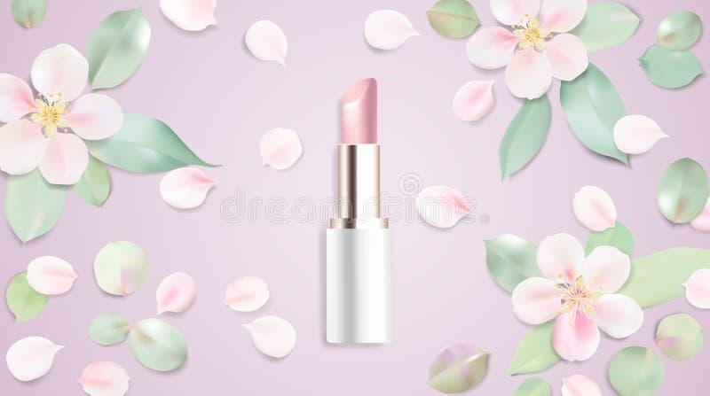 Fond d'illustration de vecteur de cosmétiques de rouge à lèvres illustration libre de droits