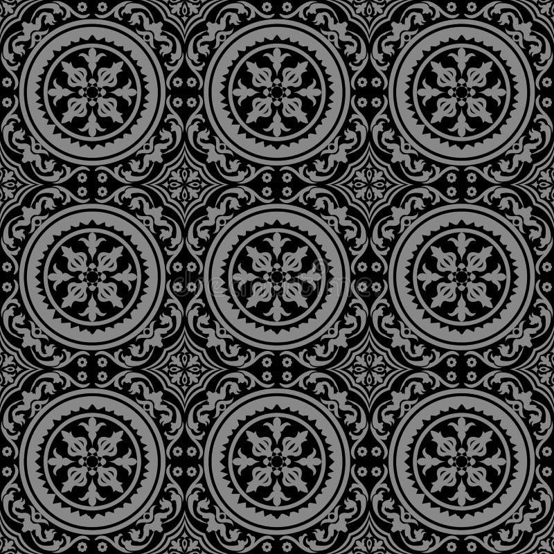 Fond d'image antique foncé élégant de cep de vigne en spirale rond de fleur illustration libre de droits