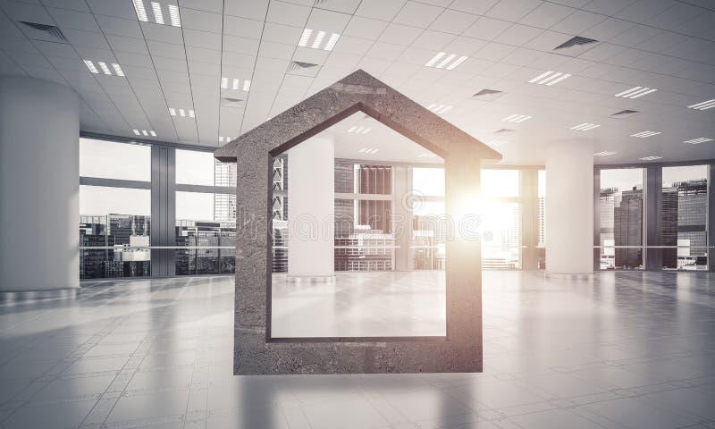 Fond d'image conceptuel d'offi moderne de connexion à la maison concret photos stock