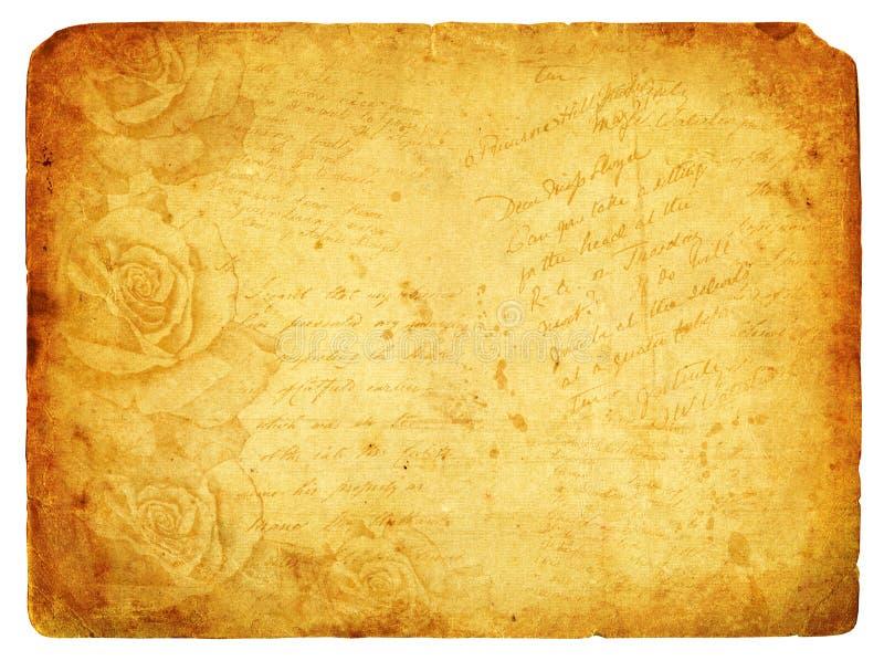 Fond d'image de cru avec des roses. Vieille carte postale. illustration libre de droits