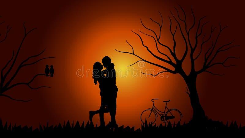 Fond d'image de Valentine se composant des couples, arbres, bicyclettes, oiseaux illustration libre de droits