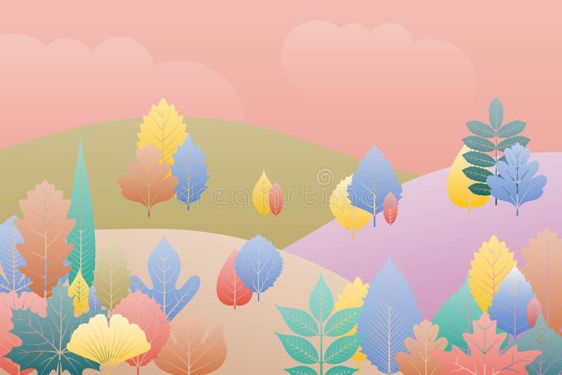 Fond d'imagination de paysage de gradation Arbres et lames d'automne Calibre de forêt d'automne illustration libre de droits