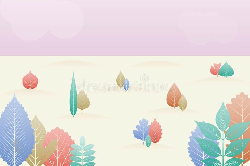 Fond d'imagination de paysage de gradation Arbres et lames d'automne Calibre de forêt d'automne illustration de vecteur
