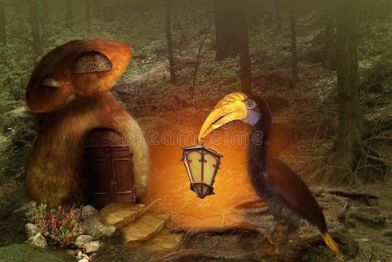 Fond d'imagination oiseau avec une lanterne dans son bec dans une forêt de féerie illustration libre de droits