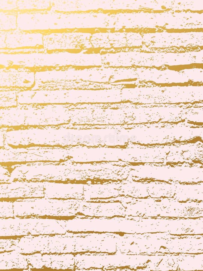 Fond d'imitation de couverture de brique d'or Contexte abstrait avec la vieille roche, texture en pierre illustration de vecteur