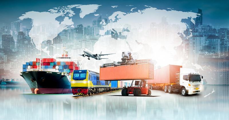 Fond d'importations-exportations de logistique d'affaires globales images stock