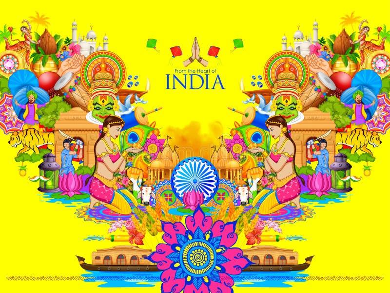 Fond d'Inde montrant sa culture et diversité illustration libre de droits