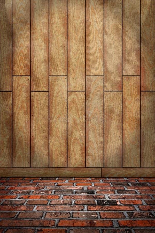 fond d 39 int rieur mur en bois brun plancher de brique. Black Bedroom Furniture Sets. Home Design Ideas