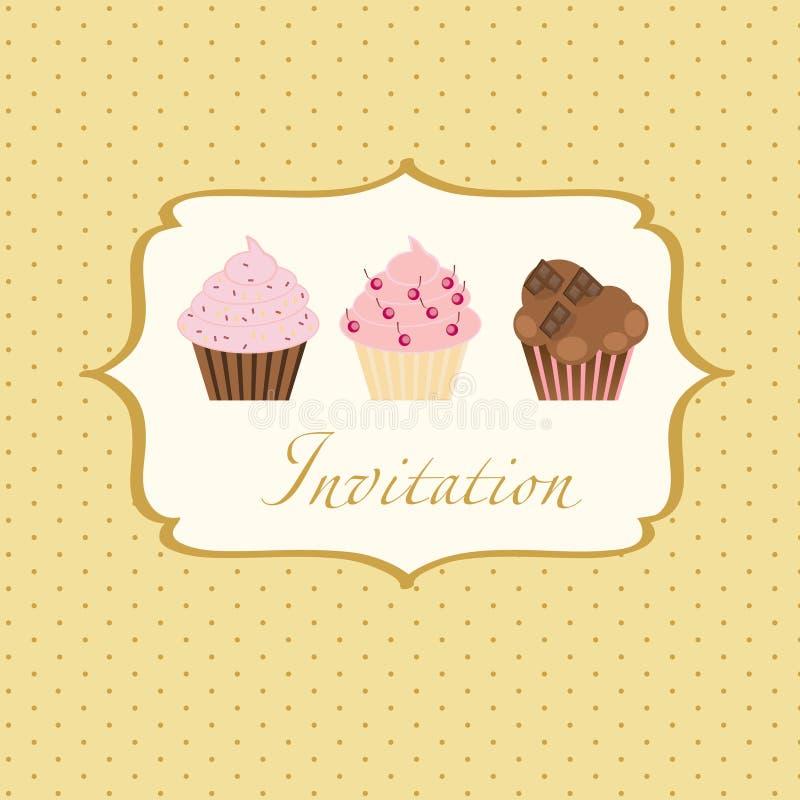 Fond d'invitation de gâteau illustration libre de droits