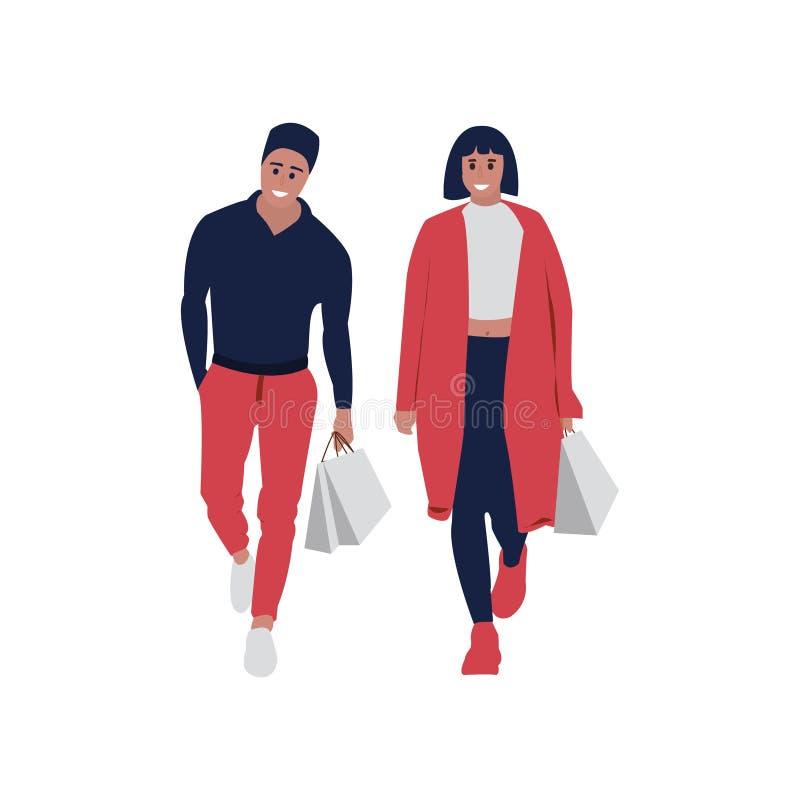 fond d'isolement au-dessus du blanc d'achats de gens Homme et femme illustration de vecteur