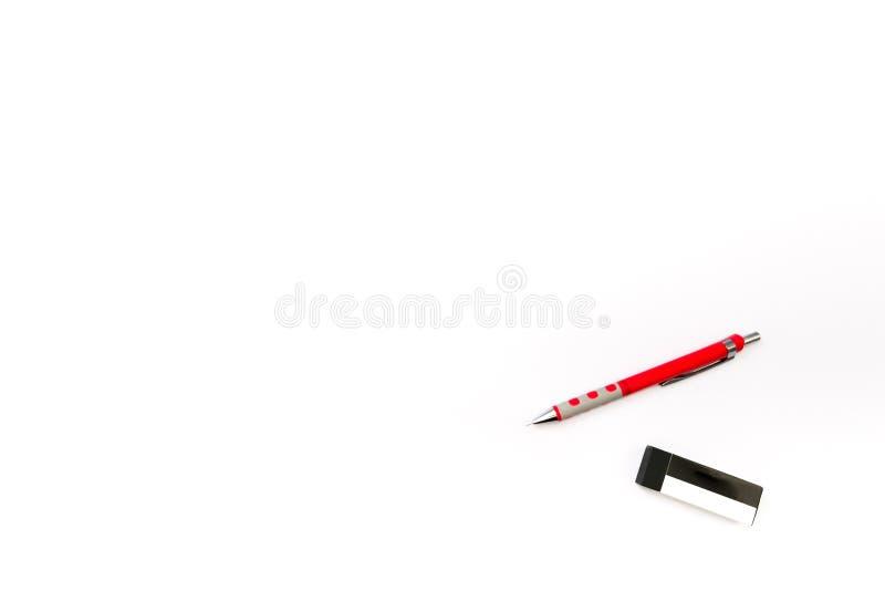 Fond d'isolement de crayon et de gomme images libres de droits