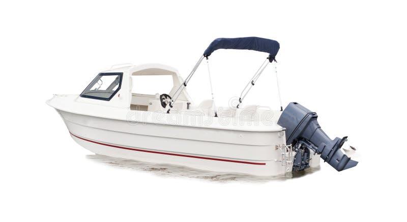 Fond d'isolement par bateau blanc de vitesse photo libre de droits