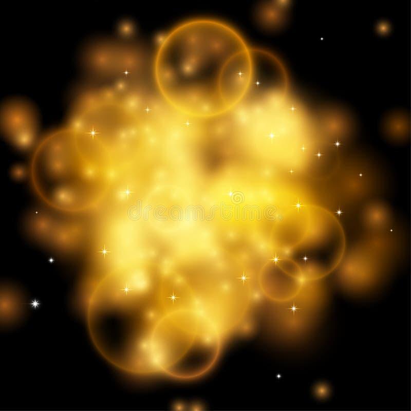 Fond d'or lumineux de lumières de feux d'artifice de fête de Noël illustration libre de droits