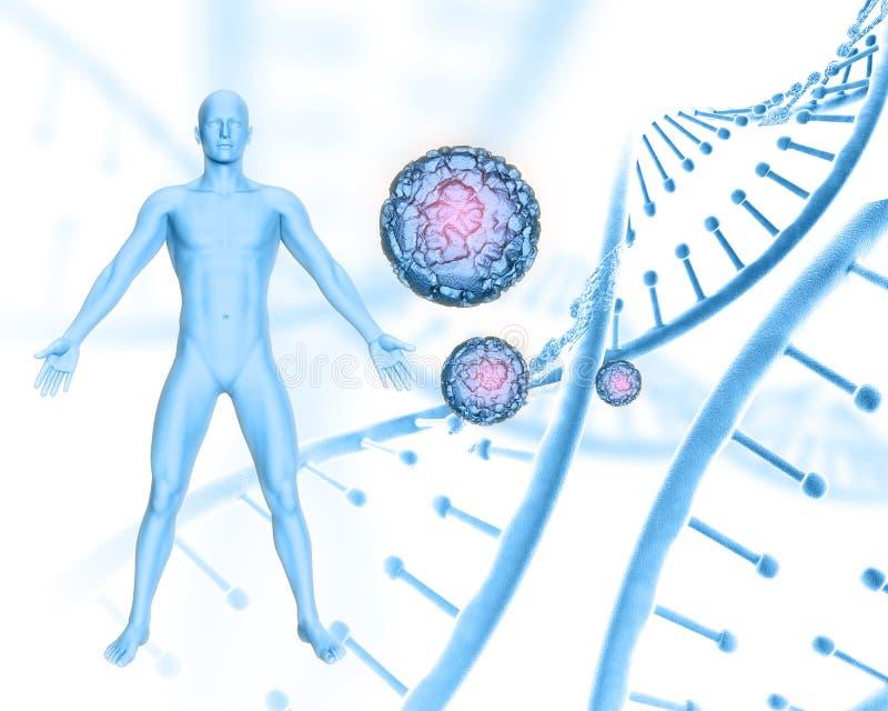 fond 3D médical avec la figure masculine sur les brins d'ADN et le fond de cellules de virus illustration libre de droits