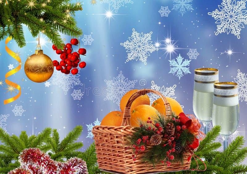 Fond d'an neuf ou de Noël illustration stock