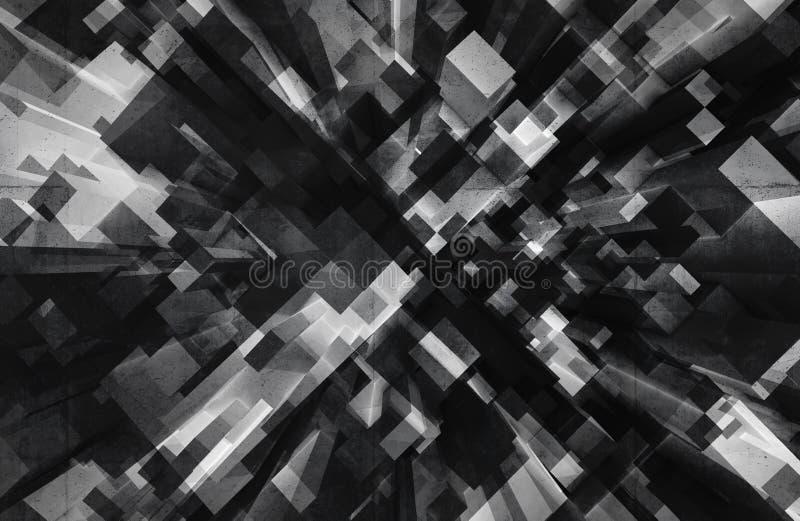 Fond 3d numérique abstrait avec les cubes noirs illustration libre de droits