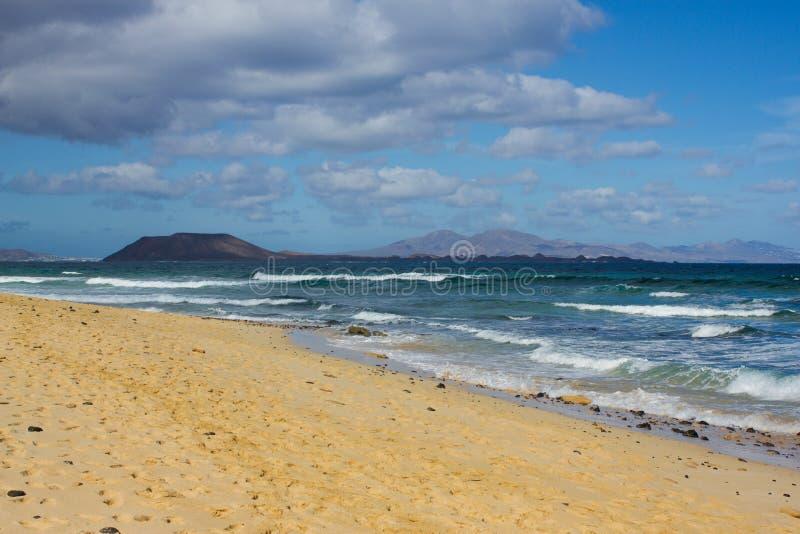 Fond d'océan Horizon atlantique Paysage de l'espace, vue panoramique Fuerteventura, îles Canaries, Espagne images stock
