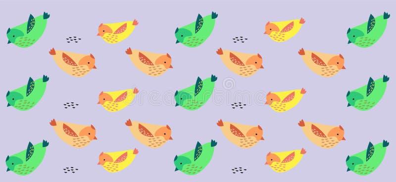 Fond d'oiseau - modèle avec le vert ? rose et oiseaux jaunes illustration libre de droits