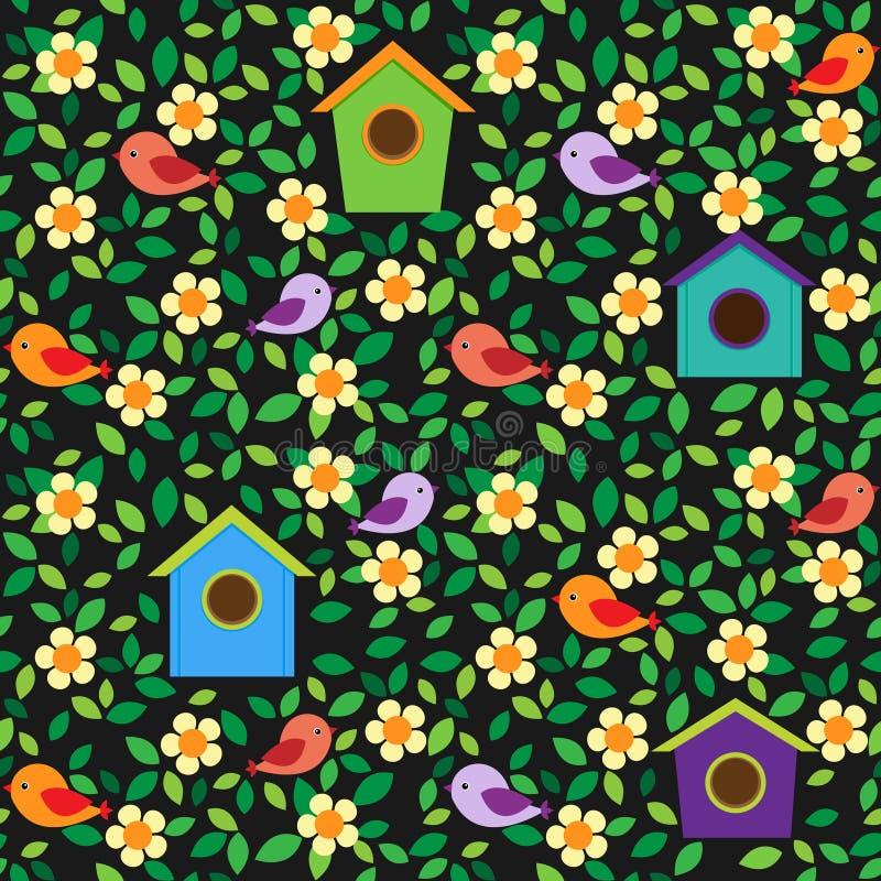 Fond d'oiseaux et de fleurs illustration de vecteur