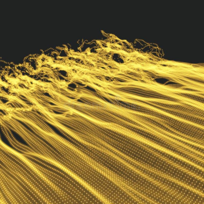 Fond d'onde Grille d'ondulation illustration abstraite de vecteur style de la technologie 3D Illustration avec des points illustration libre de droits