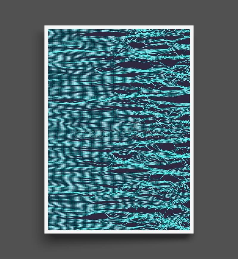 Fond d'onde Grille d'ondulation illustration abstraite de vecteur style de la technologie 3D Illustration avec des points illustration stock