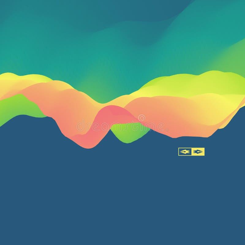 fond 3d ondulé Effet dynamique illustration abstraite de vecteur Descripteur de conception illustration de vecteur
