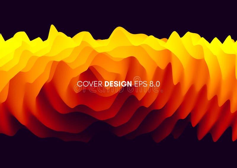 fond 3D onduleux avec l'effet d'ondulation illustration abstraite de vecteur Descripteur de conception illustration libre de droits