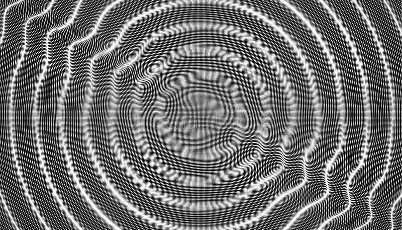 fond 3D onduleux avec l'effet d'ondulation Illustration de vecteur avec la particule illustration stock
