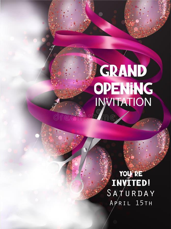 Fond d'ouverture officielle avec le ruban, les ballons à air, la fumée et les ciseaux roses bouclés illustration stock