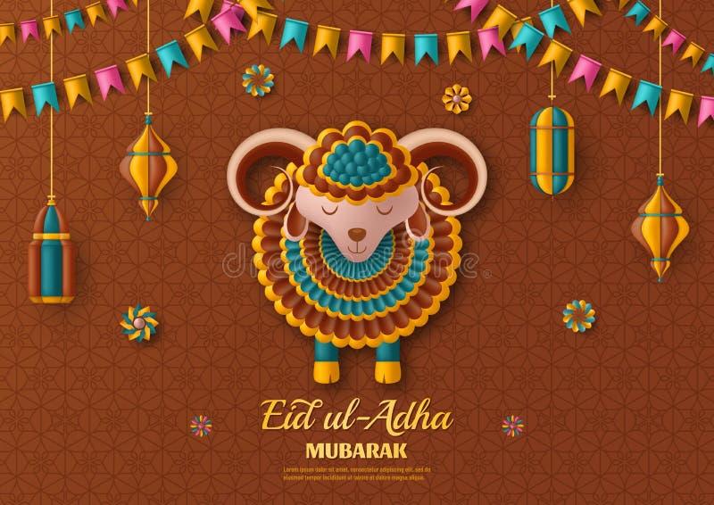 Fond d'UL Adha d'Eid Lanternes et moutons arabes islamiques Carte de voeux Festival du sacrifice Illustration de vecteur illustration de vecteur