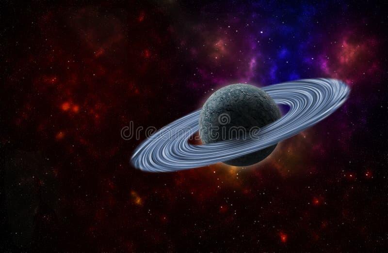 Fond d'un gisement et d'une planète d'étoile d'espace lointain avec des anneaux illustration de vecteur