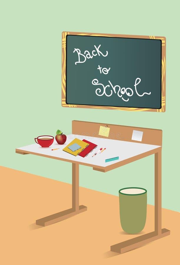 Fond d'une salle avec le bureau et le conseil pédagogique illustration stock