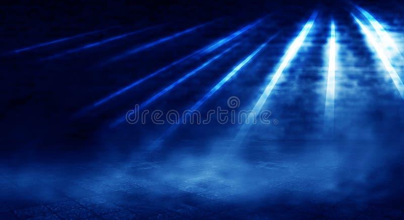 Fond d'une salle vide avec un mur de briques, lumières de projecteur, lampe au néon illustration libre de droits