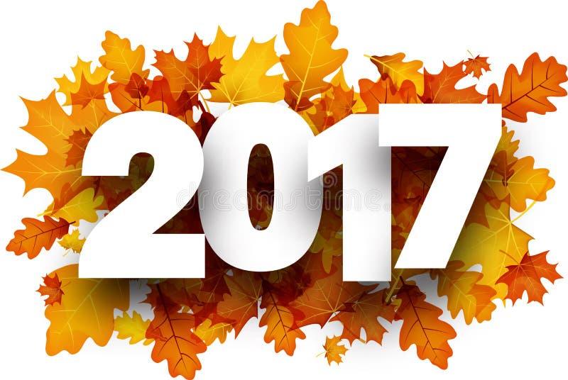 fond de 2017 automnes avec les feuilles oranges illustration libre de droits