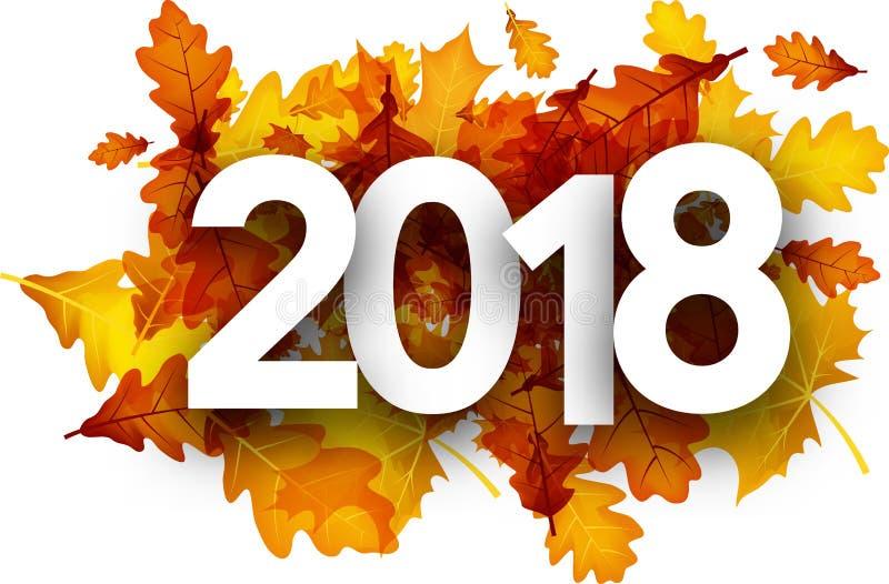 fond de 2018 automnes avec les feuilles oranges illustration libre de droits