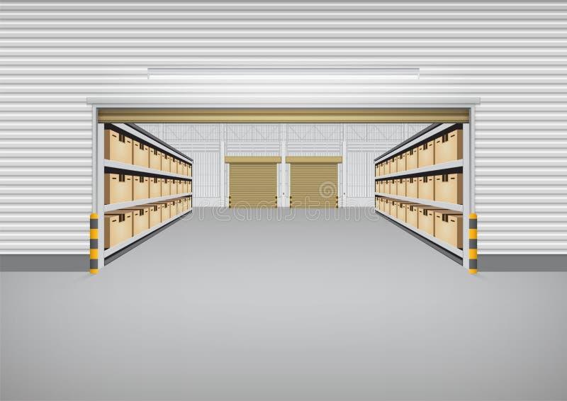 Fond de bâtiment d'entrepôt illustration de vecteur