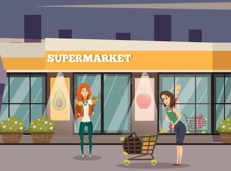 Fond de bâtiment de supermarché illustration stock