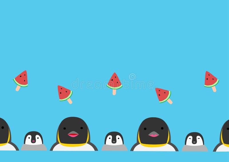 Fond de bâton de pingouin et de pastèque illustration stock