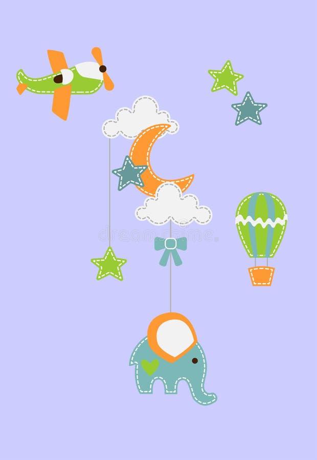Fond de bébé - éléphant sous la lune et les nuages avec le baloon et les étoiles d'avion illustration de vecteur