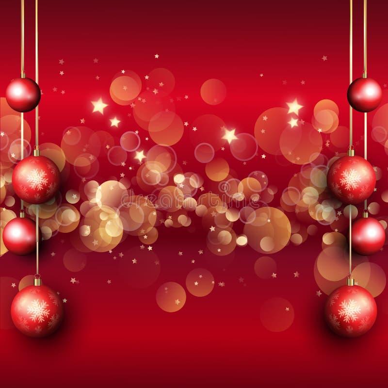 Fond de babioles de Noël avec des ligths de bokeh illustration stock