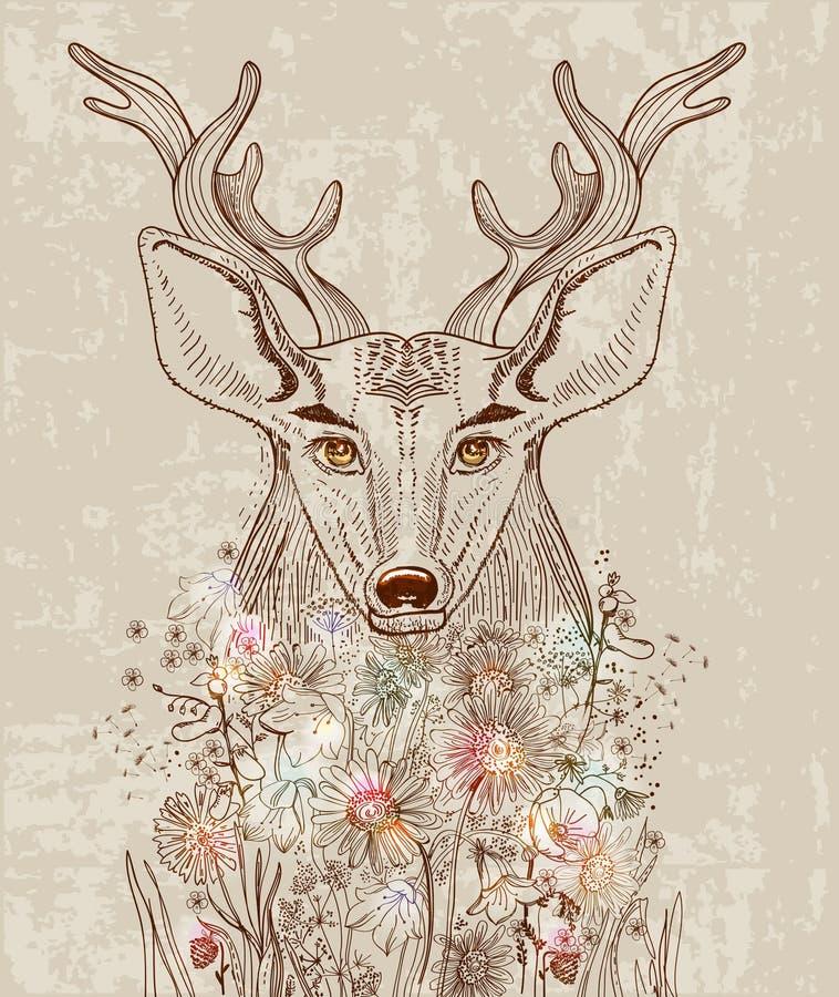 Fond de bande dessinée avec des cerfs communs et des fleurs illustration stock