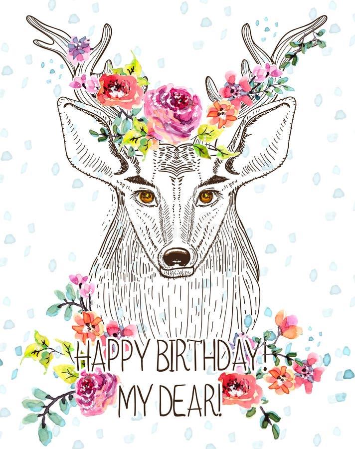 Fond de bande dessinée avec des cerfs communs et des fleurs d'aquarelle illustration stock