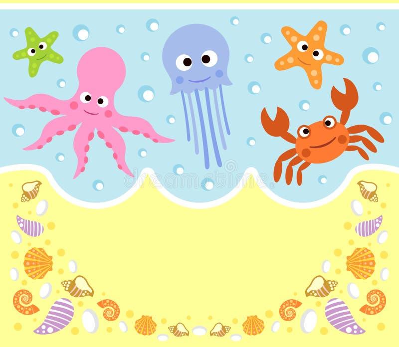 Fond de bande dessinée d'animaux de mer illustration libre de droits