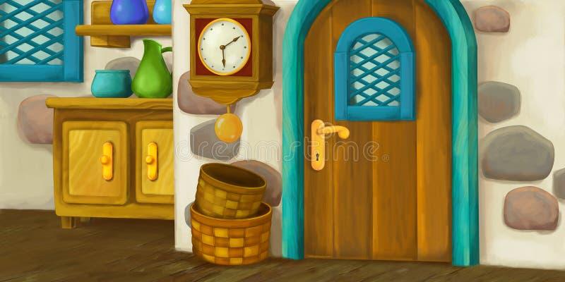 Fond de bande dessinée pour le conte de fées - intérieur de maison démodée - cuisine illustration libre de droits