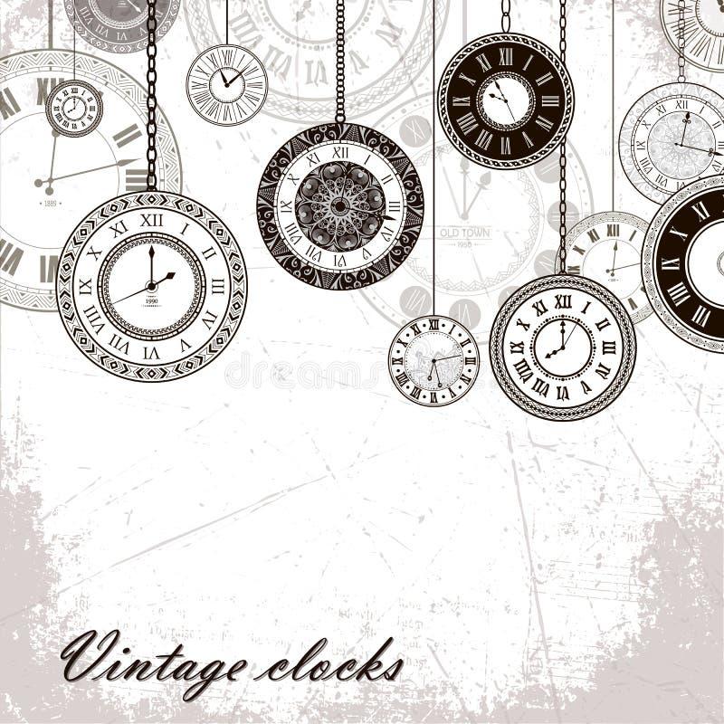 Fond de bannière d'horloge de vintage illustration de vecteur