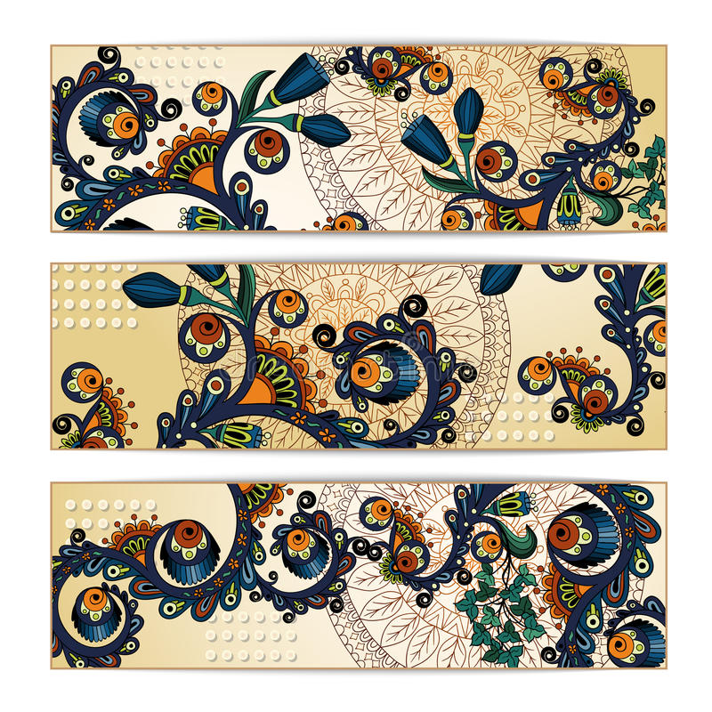 Fond de batik de Paisley Cartes tribales ethniques illustration stock