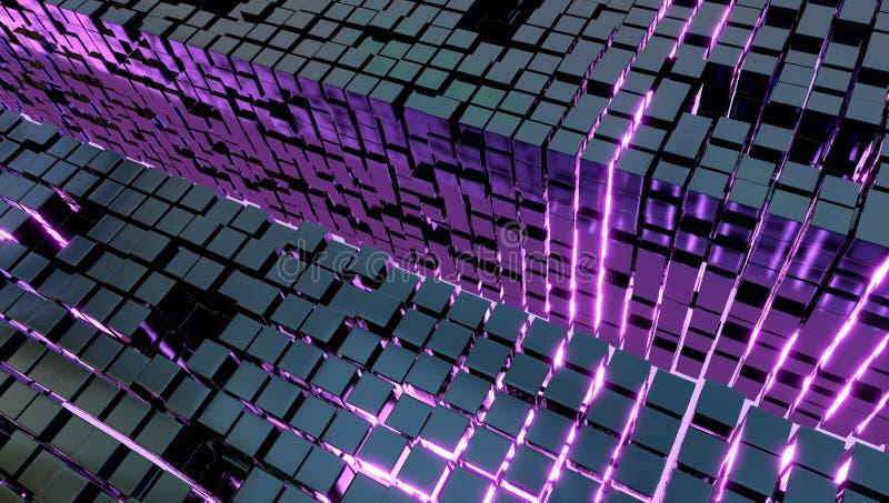Fond de beaucoup de cubes en métal et d'une lumière violette, illustration 3d images stock
