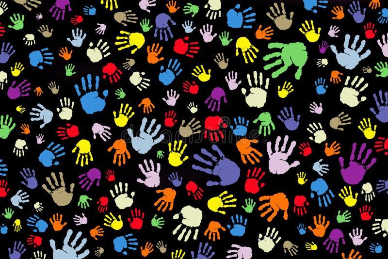 Fond de beaucoup d'impressions couleur des mains sur un fond noir illustration de vecteur